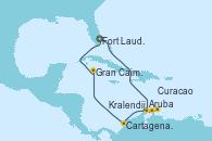 Visitando Fort Lauderdale (Florida/EEUU), Aruba (Antillas), Kralendijk (Antillas), Curacao (Antillas), Cartagena de Indias (Colombia), Gran Caimán (Islas Caimán), Fort Lauderdale (Florida/EEUU)