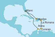 Visitando Miami (Florida/EEUU), Labadee (Haiti), La Romana (República Dominicana), Curacao (Antillas), Aruba (Antillas), Miami (Florida/EEUU)