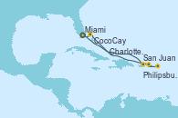 Visitando Miami (Florida/EEUU), San Juan (Puerto Rico), Philipsburg (St. Maarten), Charlotte Amalie (St. Thomas), CocoCay (Bahamas), Miami (Florida/EEUU)