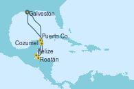Visitando Galveston (Texas), Puerto Costa Maya (México), Roatán (Honduras), Belize (Caribe), Cozumel (México), Galveston (Texas)