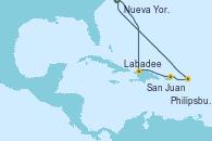 Visitando Nueva York (Estados Unidos), Labadee (Haiti), San Juan (Puerto Rico), Philipsburg (St. Maarten), Nueva York (Estados Unidos)