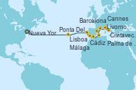 Visitando Nueva York (Estados Unidos), Ponta Delgada (Azores), Lisboa (Portugal), Cádiz (España), Málaga, Palma de Mallorca (España), Barcelona, Cannes (Francia), Livorno, Pisa y Florencia (Italia), Civitavecchia (Roma)