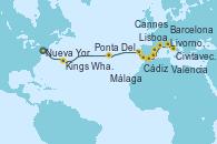 Visitando Nueva York (Estados Unidos), Kings Wharf (Bermudas), Ponta Delgada (Azores), Lisboa (Portugal), Cádiz (España), Málaga, Valencia, Barcelona, Cannes (Francia), Livorno, Pisa y Florencia (Italia), Civitavecchia (Roma)