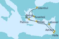 Visitando Atenas (Grecia), Kusadasi (Efeso/Turquía), Estambul (Turquía), Patmos (Grecia), Ashdod (Israel), Haifa (Israel), Limassol (Chipre), Rodas (Grecia), Atenas (Grecia)