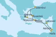 Visitando Atenas (Grecia), Ashdod (Israel), Haifa (Israel), Limassol (Chipre), Rodas (Grecia), Kusadasi (Efeso/Turquía), Estambul (Turquía), Mykonos (Grecia), Atenas (Grecia)