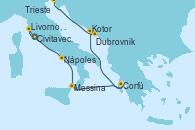 Visitando Civitavecchia (Roma), Livorno, Pisa y Florencia (Italia), Nápoles (Italia), Messina (Sicilia), Corfú (Grecia), Kotor (Montenegro), Dubrovnik (Croacia), Venecia (Italia)