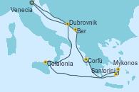 Visitando Venecia (Italia), Bar ( Montenegro), Corfú (Grecia), Santorini (Grecia), Mykonos (Grecia), Cefalonia (Grecia), Dubrovnik (Croacia), Venecia (Italia)