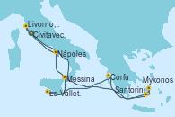 Visitando Civitavecchia (Roma), Santorini (Grecia), Mykonos (Grecia), Corfú (Grecia), La Valletta (Malta), Messina (Sicilia), Nápoles (Italia), Livorno, Pisa y Florencia (Italia), Civitavecchia (Roma)