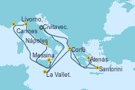Visitando Civitavecchia (Roma), Santorini (Grecia), Atenas (Grecia), Corfú (Grecia), La Valletta (Malta), Messina (Sicilia), Nápoles (Italia), Livorno, Pisa y Florencia (Italia), Cannes (Francia), Civitavecchia (Roma)