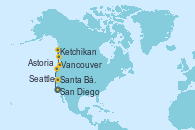 Visitando San Diego (California/EEUU), Santa Bárbara (California), Astoria  (Oregón), Seattle (Washington/EEUU), Ketchikan (Alaska), Vancouver (Canadá)