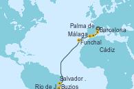 Visitando Barcelona, Palma de Mallorca (España), Málaga, Cádiz (España), Funchal (Madeira), Salvador de Bahía (Brasil), Buzios (Brasil), Río de Janeiro (Brasil)