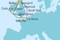 Visitando Southampton (Inglaterra), Saint Peter´s Port (Reino Unido), Cobh, Cork (Irlanda), Cobh, Cork (Irlanda), Dublin (Irlanda), Belfast (Irlanda), Greenock (Escocia), Invergordon (Escocia), South Queensferry (Escocia), Le Havre (Francia), Southampton (Inglaterra)