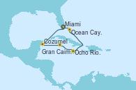 Visitando Miami (Florida/EEUU), Cozumel (México), Gran Caimán (Islas Caimán), Ocho Ríos (Jamaica), Ocean Cay MSC Marine Reserve (Bahamas), Miami (Florida/EEUU)