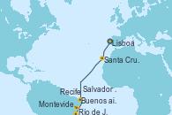 Visitando Lisboa (Portugal), Santa Cruz de Tenerife (España), Recife (Brasil), Salvador de Bahía (Brasil), Río de Janeiro (Brasil), Montevideo (Uruguay), Buenos aires