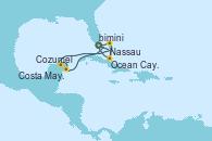 Visitando Puerto Cañaveral (Florida), Nassau (Bahamas), Ocean Cay MSC Marine Reserve (Bahamas), Puerto Cañaveral (Florida), Ocean Cay MSC Marine Reserve (Bahamas), Ocean Cay MSC Marine Reserve (Bahamas), Costa Maya (México), Cozumel (México), Puerto Cañaveral (Florida)