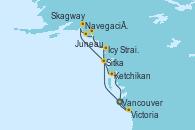 Visitando Vancouver (Canadá), Sitka (Alaska), Navegación por Glaciar Hubbard (Alaska), Juneau (Alaska), Skagway (Alaska), Icy Strait Point (Alaska), Ketchikan (Alaska), Victoria (Canadá), Vancouver (Canadá)
