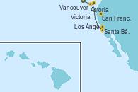 Visitando Vancouver (Canadá), Victoria (Canadá), Astoria  (Oregón), San Francisco (California/EEUU), Santa Bárbara (California), Los Ángeles (California)