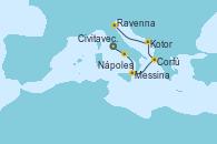 Visitando Civitavecchia (Roma), Nápoles (Italia), Messina (Sicilia), Corfú (Grecia), Kotor (Montenegro), Venecia (Italia)