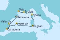 Visitando Barcelona, Sete (Francia), Toulon (Francia), Ajaccio (Córcega), Cagliari (Cerdeña), Palma de Mallorca (España), Cartagena (Murcia), Valencia, Barcelona