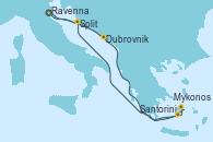 Visitando Venecia (Italia), Dubrovnik (Croacia), Santorini (Grecia), Mykonos (Grecia), Split (Croacia), Venecia (Italia)
