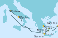 Visitando Civitavecchia (Roma), Nápoles (Italia), Santorini (Grecia), Atenas (Grecia), Mykonos (Grecia), Kusadasi (Efeso/Turquía), Chania (Creta/Grecia), Civitavecchia (Roma)