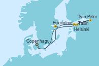 Visitando Copenhague (Dinamarca), Estocolmo (Suecia), Helsinki (Finlandia), San Petersburgo (Rusia), Tallin (Estonia), Copenhague (Dinamarca)