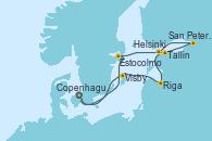 Visitando Copenhague (Dinamarca), Estocolmo (Suecia), Tallin (Estonia), San Petersburgo (Rusia), San Petersburgo (Rusia), Helsinki (Finlandia), Riga (Letonia), Visby (Suecia), Copenhague (Dinamarca)