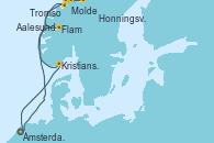 Visitando Ámsterdam (Holanda), Molde (Noruega), Tromso (Noruega), Honningsvag (Noruega), Aalesund (Noruega), Flam (Noruega), Kristiansand (Noruega), Ámsterdam (Holanda)