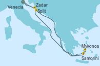 Visitando Venecia (Italia), Split (Croacia), Mykonos (Grecia), Santorini (Grecia), Zadar (Croacia), Venecia (Italia)