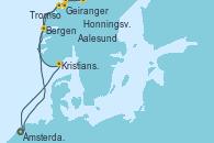 Visitando Ámsterdam (Holanda), Geiranger (Noruega), Tromso (Noruega), Honningsvag (Noruega), Aalesund (Noruega), Bergen (Noruega), Kristiansand (Noruega), Ámsterdam (Holanda)