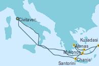 Visitando Civitavecchia (Roma), Santorini (Grecia), Atenas (Grecia), Mykonos (Grecia), Kusadasi (Efeso/Turquía), Chania (Creta/Grecia), Civitavecchia (Roma)