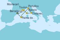 Visitando Barcelona, Toulon (Francia), Montecarlo (Mónaco), Ajaccio (Córcega), Civitavecchia (Roma), Portofino (Italia), Palma de Mallorca (España), Barcelona