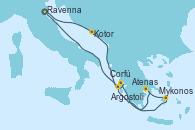 Visitando Venecia (Italia), Kotor (Montenegro), Corfú (Grecia), Mykonos (Grecia), Atenas (Grecia), Argostoli (Grecia), Venecia (Italia)
