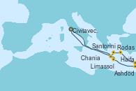 Visitando Civitavecchia (Roma), Limassol (Chipre), Ashdod (Israel), Ashdod (Israel), Haifa (Israel), Rodas (Grecia), Santorini (Grecia), Chania (Creta/Grecia), Civitavecchia (Roma)