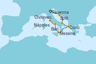 Visitando Venecia (Italia), Split (Croacia), Bari (Italia), Corfú (Grecia), Messina (Sicilia), Nápoles (Italia), Civitavecchia (Roma)