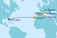 Visitando Fort Lauderdale (Florida/EEUU), Funchal (Madeira), Málaga, Cartagena (Murcia), La Spezia, Florencia y Pisa (Italia), Civitavecchia (Roma)