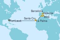 Visitando Fort Lauderdale (Florida/EEUU), La Palma (Islas Canarias/España), Santa Cruz de Tenerife (España), Valencia, Ibiza (España), Barcelona