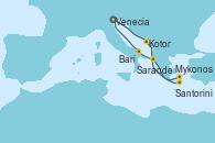 Visitando Venecia (Italia), Kotor (Montenegro), Mykonos (Grecia), Mykonos (Grecia), Santorini (Grecia), Sarande (Albania), Bari (Italia), Venecia (Italia)