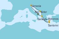 Visitando Bari (Italia), Venecia (Italia), Kotor (Montenegro), Mykonos (Grecia), Mykonos (Grecia), Santorini (Grecia), Sarande (Albania), Bari (Italia)