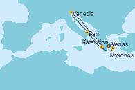 Visitando Atenas (Grecia), Katakolon (Olimpia/Grecia), Venecia (Italia), Bari (Italia), Mykonos (Grecia), Atenas (Grecia)
