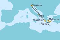 Visitando Bari (Italia), Mykonos (Grecia), Atenas (Grecia), Katakolon (Olimpia/Grecia), Venecia (Italia), Bari (Italia)
