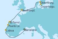 Visitando Barcelona, Lisboa (Portugal), Puerto Leixões (Portugal), El Ferrol (Galicia/España), Southampton (Inglaterra), Gotemburgo (Suecia), Copenhague (Dinamarca)