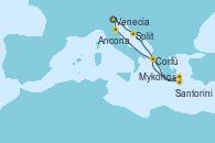 Visitando Venecia (Italia), Split (Croacia), Santorini (Grecia), Mykonos (Grecia), Mykonos (Grecia), Corfú (Grecia), Ancona (Italia), Venecia (Italia)