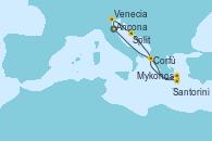 Visitando Ancona (Italia), Venecia (Italia), Split (Croacia), Santorini (Grecia), Mykonos (Grecia), Mykonos (Grecia), Corfú (Grecia), Ancona (Italia)