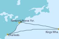 Visitando Nueva York (Estados Unidos), Newport (Rhode Island), Charleston (Carolina del Sur), Charleston (Carolina del Sur), Kings Wharf (Bermudas), Kings Wharf (Bermudas), Nueva York (Estados Unidos)