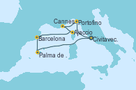 Visitando Civitavecchia (Roma), Portofino (Italia), Cannes (Francia), Ajaccio (Córcega), Barcelona, Palma de Mallorca (España), Civitavecchia (Roma)