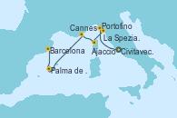 Visitando Civitavecchia (Roma), Portofino (Italia), La Spezia, Florencia y Pisa (Italia), Ajaccio (Córcega), Cannes (Francia), Palma de Mallorca (España), Barcelona