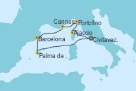 Visitando Civitavecchia (Roma), Ajaccio (Córcega), Portofino (Italia), Cannes (Francia), Barcelona, Palma de Mallorca (España), Civitavecchia (Roma)