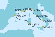 Visitando Civitavecchia (Roma), La Spezia, Florencia y Pisa (Italia), Cannes (Francia), Toulon (Francia), Barcelona, Cagliari (Cerdeña), Messina (Sicilia), Nápoles (Italia), Civitavecchia (Roma)