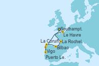 Visitando Southampton (Inglaterra), Vigo (España), Puerto Leixões (Portugal), La Coruña (Galicia/España), Bilbao (España), La Rochelle (Francia), Le Havre (Francia), Southampton (Inglaterra)